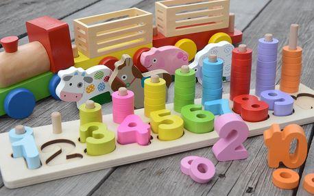 Dřevěné hračky pro zábavné učení barev i čísel