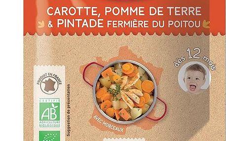 3x BABYBIO Příkrm mrkev a brambory s farmářskou perličkou 190 g - maso-zeleninový příkrm