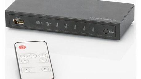 HDMI přepínač Digitus 5x1, podpora 4K + dálkové ovládání černý (DS-49304 )