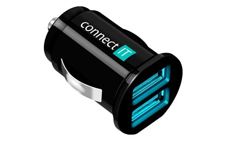 Connect IT 2x USB, 2.1A/1A černý (CI-176)