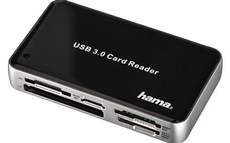 Čtečka paměťových karet Hama USB 3.0 All in One černá/stříbrná