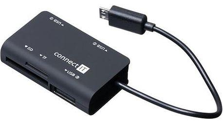 Čtečka paměťových karet Connect IT + USB hub micro USB (CI-198)