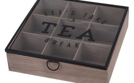 Box na čaj se skleněným víkem, MDF