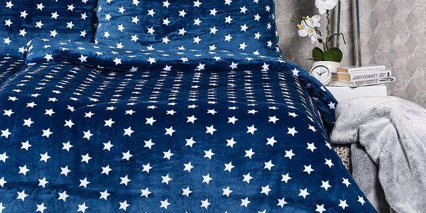 4Home povlečení mikroflanel Stars modrá, 140 x 200 cm, 70 x 90 cm, 140 x 200 cm, 70 x 90 cm2