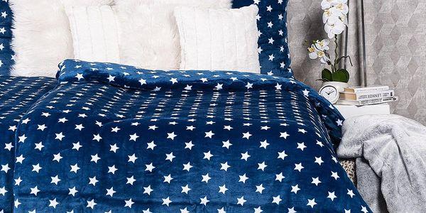 4Home povlečení mikroflanel Stars modrá, 140 x 200 cm, 70 x 90 cm, 140 x 200 cm, 70 x 90 cm5