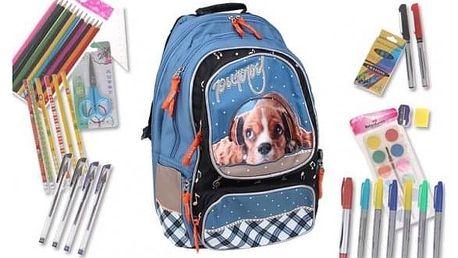 Batoh PUPPY s náplní školních potřeb