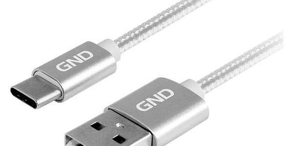 Kabel GND USB / USB-C, 1m, opletený titanium (USBAC100MM08)3