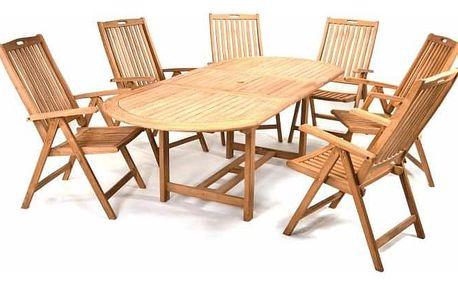 DIVERO 2349 Zahradní nábytek z týkového dřeva - 1x stůl, 6x židle