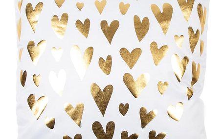 JAHU Polštářek Gold De Lux Srdce bílá, 43 x 43 cm
