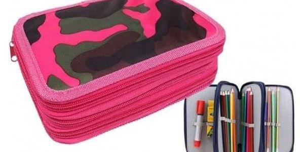Penál 3patrový růžový maskáč + školní potřeby