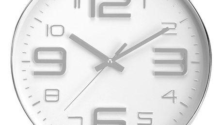 Emako Kulaté nástěnné hodiny, stříbrná barva, průměr 30 cm