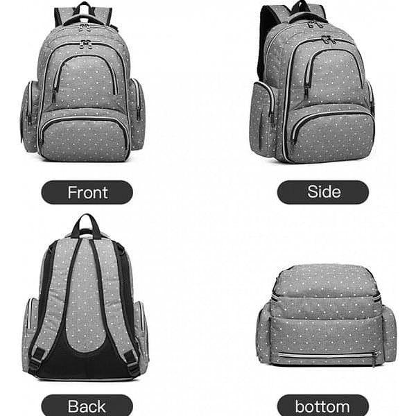 SET: Mateřský šedý batoh na kočárek Dario 6706D22
