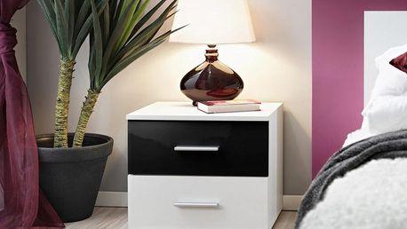 Noční stolek Vicky, bílá matná/černý lesk a bílá matná