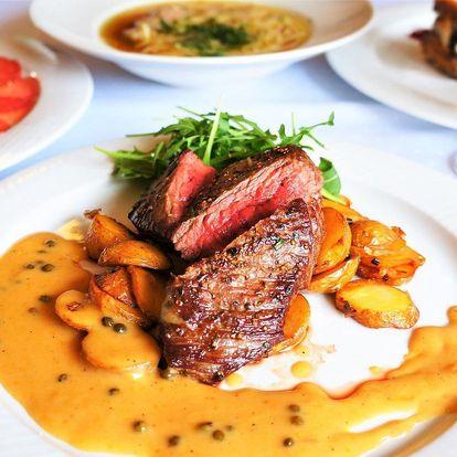 4chodové menu s vyzrálým hovězím steakem