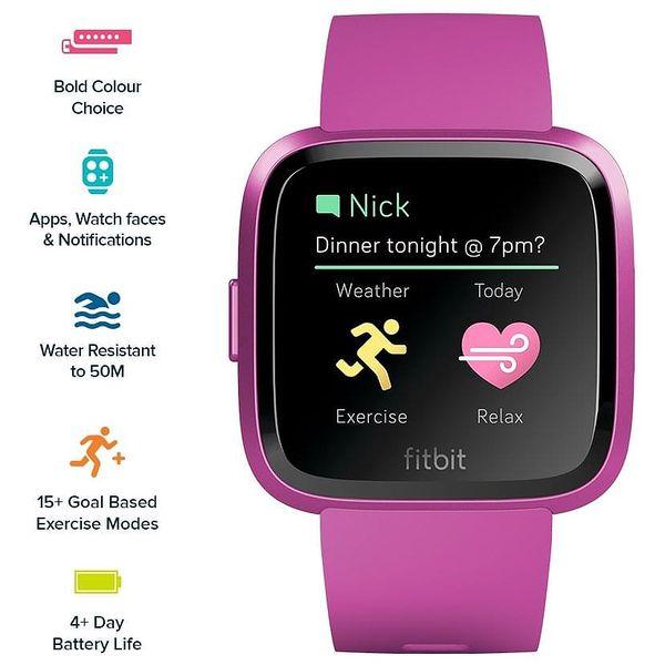 Chytré hodinky Fitbit Versa Lite - Mulberry Case / Mulberry Band (FB415PMPM)5