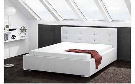 Čalouněná postel DAKOTA bílá rozměr 140x200 cm