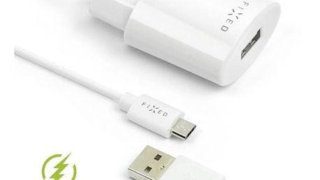 Nabíječka do sítě FIXED 1x USB, 2,4A + micro USB kabel bílá (FIXC-UM-WH)