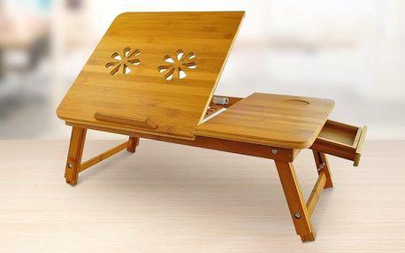 Celodřevěný stolek do postele na notebook
