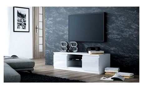 TV stolek LCD glass 120 cm bílá lesklá