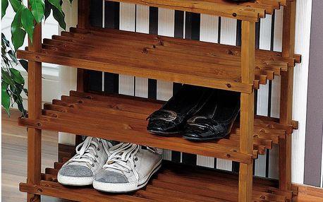 Kesper Vysoký botník z jedlového dřeva, objemný a skladný regál na boty se čtyřmi policemi