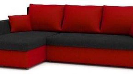 Rohová rozkládací sedací souprava PAUL Černá/červená Levá