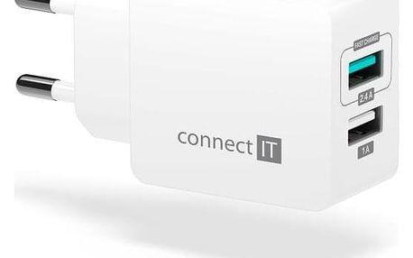 Connect IT Fast Charge 2x USB, 3,4A s funkcí rychlonabíjení bílá (CWC-2015-WH)
