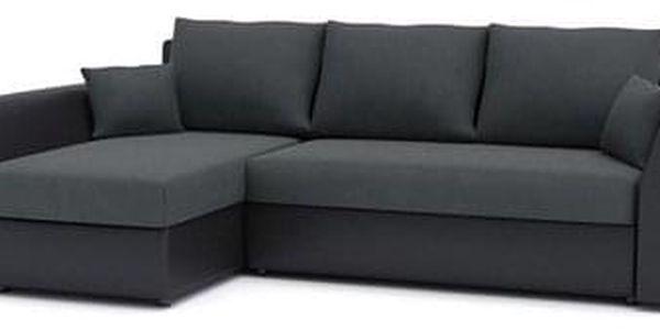 Rohová rozkládací sedací souprava PAUL látka v kombinaci s eko-kůží Tmavě šedá/černá eko-kůže2