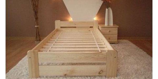 Vyvýšená masivní postel Euro 80x200 cm včetně roštu Borovice2