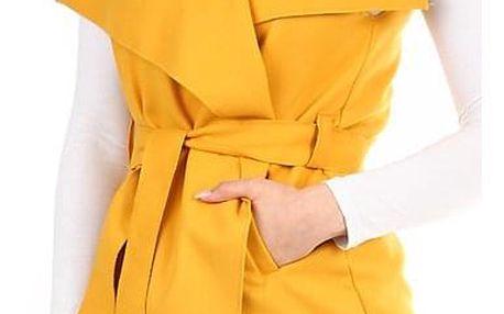 Dámská jednobarevná vesta s páskem tmavě žlutá