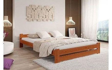 Vyvýšená masivní postel Euro 140x200 cm včetně roštu Borovice
