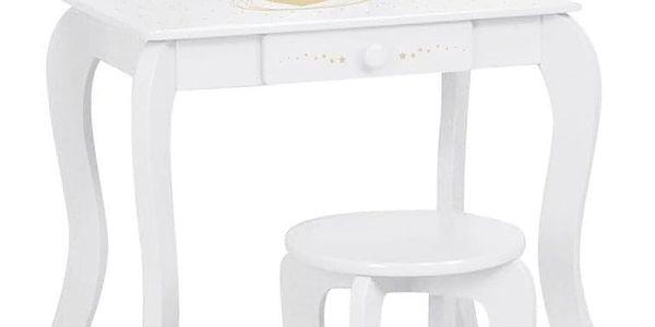 Emako Bílý stůl, toaletní stolek, stůl se zrcadlem, stůl se stoličkou, stůl s jednou zásuvkou, barva bílá2