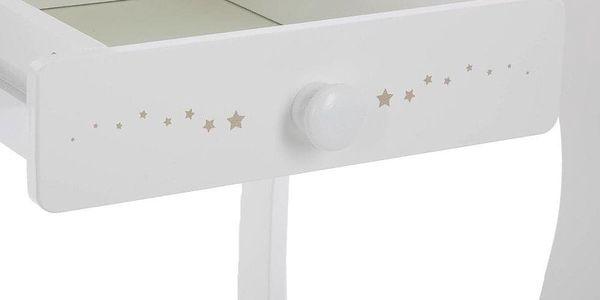 Emako Bílý stůl, toaletní stolek, stůl se zrcadlem, stůl se stoličkou, stůl s jednou zásuvkou, barva bílá3