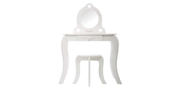 Emako Bílý stůl, toaletní stolek, stůl se zrcadlem, stůl se stoličkou, stůl s jednou zásuvkou, barva bílá4