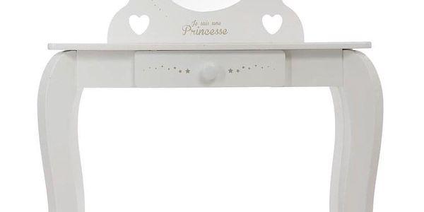 Emako Bílý stůl, toaletní stolek, stůl se zrcadlem, stůl se stoličkou, stůl s jednou zásuvkou, barva bílá5