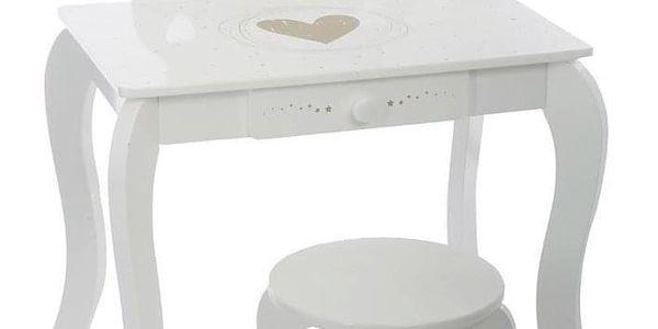 Emako Bílý stůl, toaletní stolek, stůl se zrcadlem, stůl se stoličkou, stůl s jednou zásuvkou, barva bílá