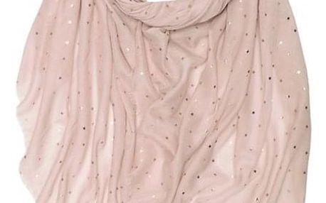 Dámský růžový šátek Gold stars