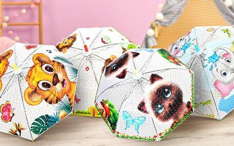 Dětské deštníky s píšťalkou: lvíče, slůně i tygr