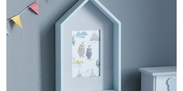 Altom Dřevěný fotorámeček Medvídek 29,5 cm, modrá2