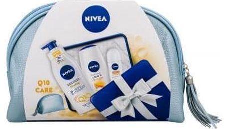 Nivea Care & Orange dárková kazeta pro ženy sprchový gel 250 ml + zpevňující tělové mléko Q10 400 ml + antiperspirant roll-on Stress Protect 50 ml + kosmetická taška