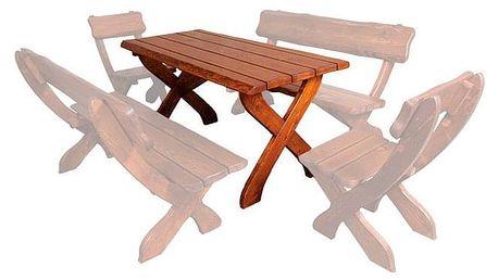 Zahradní stůl MO230, smrk masiv ořech + lak