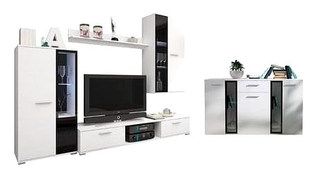 Obývací stěna s komodou OSCAR bílá Varianta LED osvětlení
