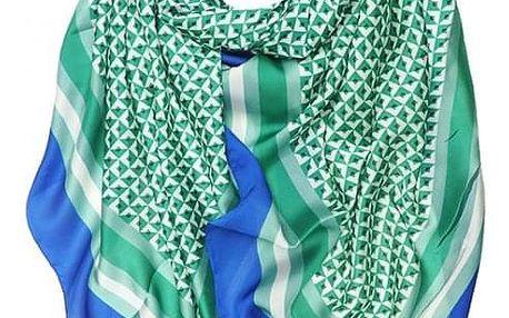 Dámský hedvábný zelený šátek Geometric