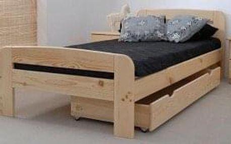 Dřevěná postel Klaudia 90x200 + rošt ZDARMA - borovice