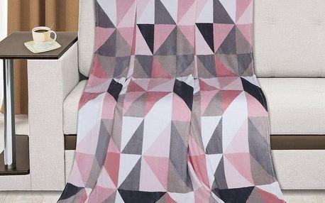 Bellatex KEMPING PLUS Růžové trojúhelníky, 150 x 200 cm