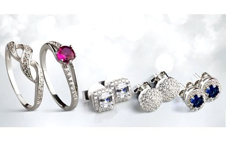 Stříbrné prsteny a náušnice
