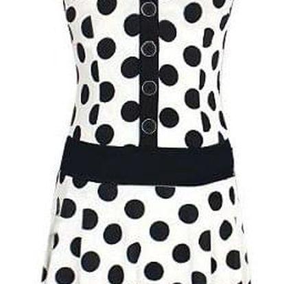 Letní šaty s puntíky - Bílá L - dodání do 2 dnů