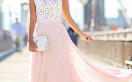 Dlouhé šaty s krajkovým vrškem a růžovou sukní - Velikost č. 3 - dodání do 2 dnů