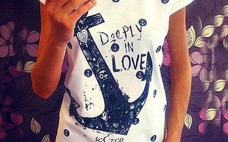 Dámské námořnické tričko - Bílá (Deeply in Love) - M - dodání do 2 dnů