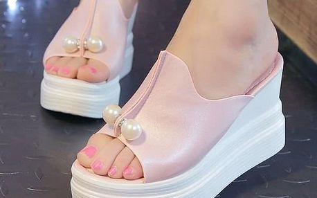 Dámské sandály s umělými perličkami - Bílá-37,5 - dodání do 2 dnů