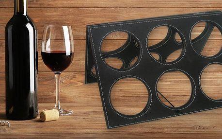 Stojan na šest lahví vína v imitaci kůže